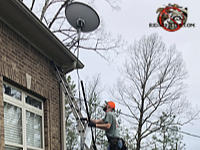 Man on a ladder inspecting the edge of a roof as part of a bat removal job at a house in Warrior Alabama.