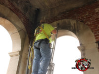 Man on a ladder installing screening to keep birds out of a church bell tower