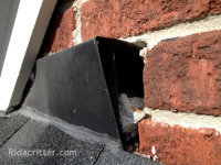 Flying squirrel entry hole around flashing at an Alpharetta home