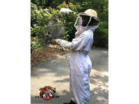 Man in a protective suit removing a hornets nest from a bush next to the driveway of a house in Big Canoe Georgia