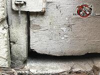 Mice got into a house in Valdosta through a gap at the bottom left corner of a crawl space access door
