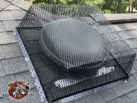Metal mesh cage shaped like a box installed over a round roof vent to keep squirrels out of the attic of a house in Vestavia Hills Alabama.
