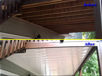 Before-and-after pictures of a Dry Under Decks Installation in Atlanta